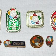 Coleccionismo deportivo: LOTE 5 INSIGNIAS SOVIETICAS .TEMATICA-12TH WORLD FESTIVAL OF YOUTH AND STUDENTS .URSS. Lote 175849970