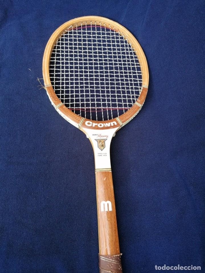 Coleccionismo deportivo: Antigua raqueta le la firma Crown doris Massey. - Foto 4 - 177937413
