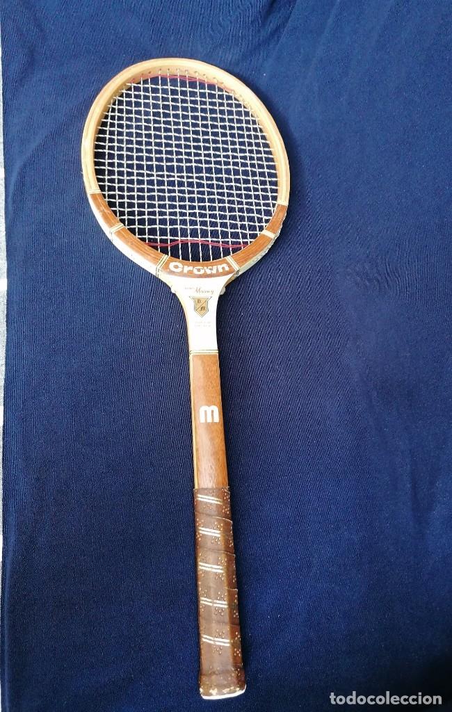 Coleccionismo deportivo: Antigua raqueta le la firma Crown doris Massey - Foto 4 - 177937754