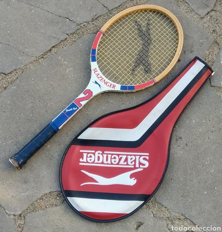 Coleccionismo deportivo: Raqueta tenis Slazenger, de madera. Años 80. - Foto 2 - 178977838