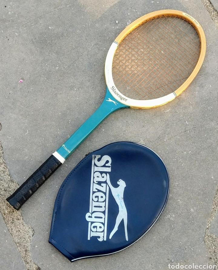 Coleccionismo deportivo: Raqueta tenis Slazenger, de madera. Años 80. - Foto 2 - 178979835