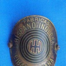 Coleccionismo deportivo: ANTIGUA CHAPA INSIGNIA DE BICICLETA HISPANO INGLESA EIBAR. Lote 189344416