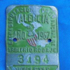Coleccionismo deportivo: CHAPA DE BICICLETA DIPUTACIÓN VALENCIA AÑO 1967. Lote 191089382