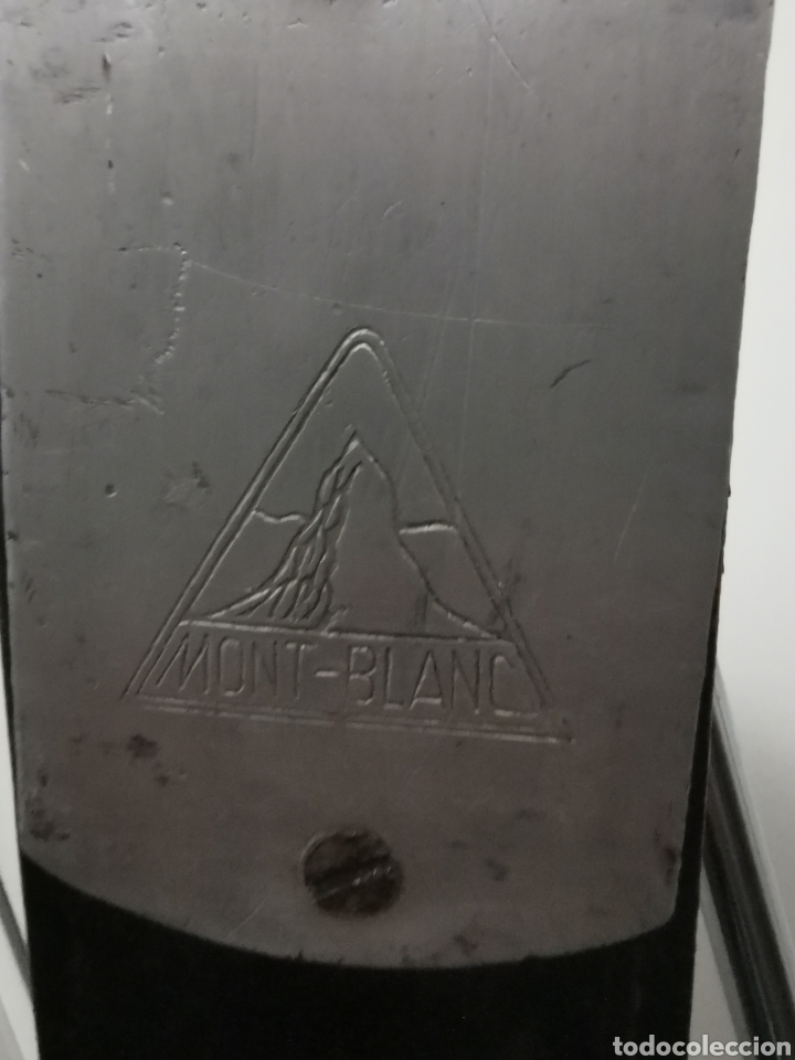 Coleccionismo deportivo: Skis años 40-50.Mont Blanc. Madera y metal - Foto 7 - 194872558