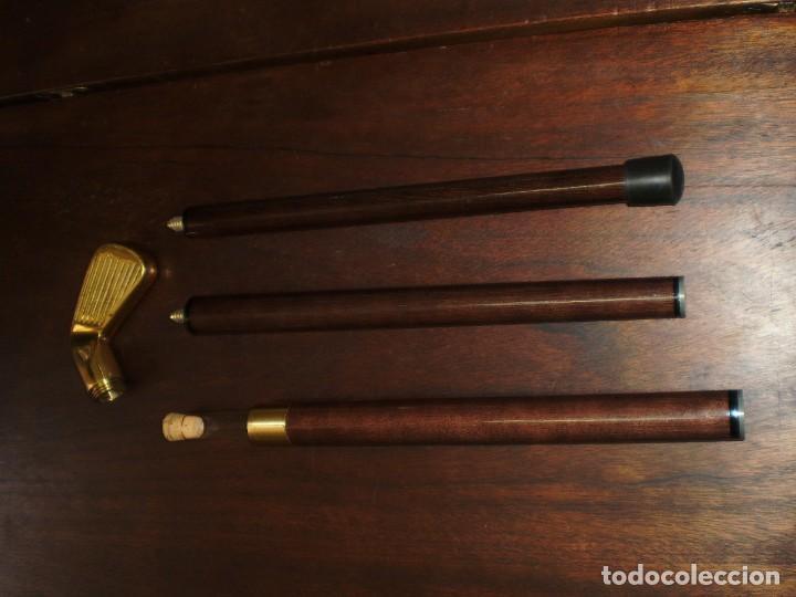 Coleccionismo deportivo: - GOLF- Bastón desmontable de madera con empuñadura de latón metálica en forma de palo de golf - Foto 4 - 207378438