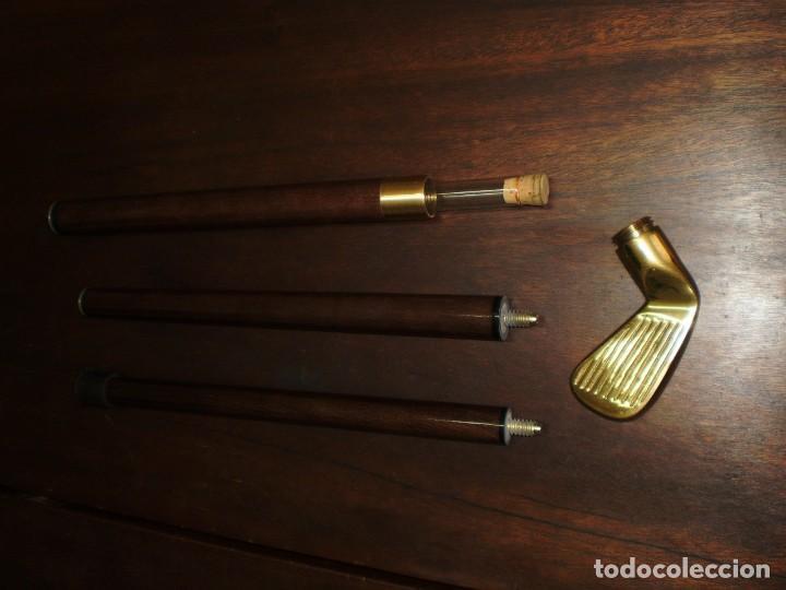 Coleccionismo deportivo: - GOLF- Bastón desmontable de madera con empuñadura de latón metálica en forma de palo de golf - Foto 5 - 207378438