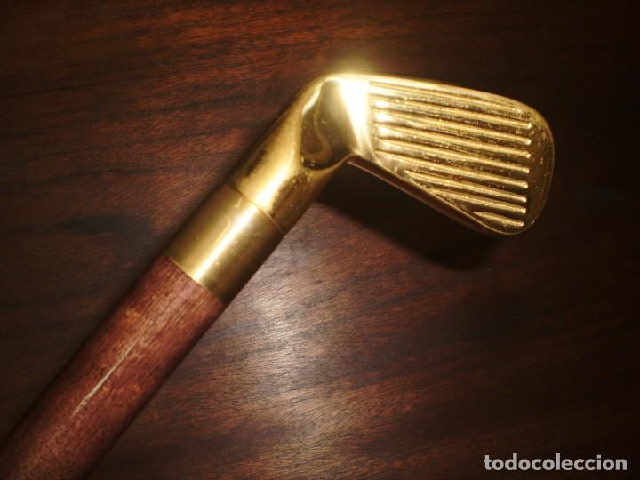 Coleccionismo deportivo: - GOLF- Bastón desmontable de madera con empuñadura de latón metálica en forma de palo de golf - Foto 8 - 207378438