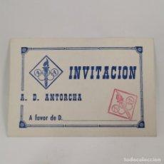 Coleccionismo deportivo: INVITACION - A. D. ANTORCHA - INVITACIÓN - CLUB DE LLEIDA (LÉRIDA) AÑOS 60 - DOCUMENTO DEPORTIVO. Lote 209797140