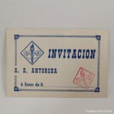 Coleccionismo deportivo: INVITACION - A. D. ANTORCHA - INVITACIÓN - CLUB DE LLEIDA (LÉRIDA) AÑOS 60 - DOCUMENTO DEPORTIVO. Lote 209797156