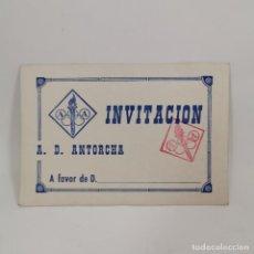 Coleccionismo deportivo: INVITACION - A. D. ANTORCHA - INVITACIÓN - CLUB DE LLEIDA (LÉRIDA) AÑOS 60 - DOCUMENTO DEPORTIVO. Lote 209797162