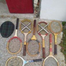 Coleccionismo deportivo: 7 RAQUETAS DE TENIS DE MADERA ANTIGUAS VARIAS MARCAS Y MEDIDAS 2 TENSORES. Lote 222945023