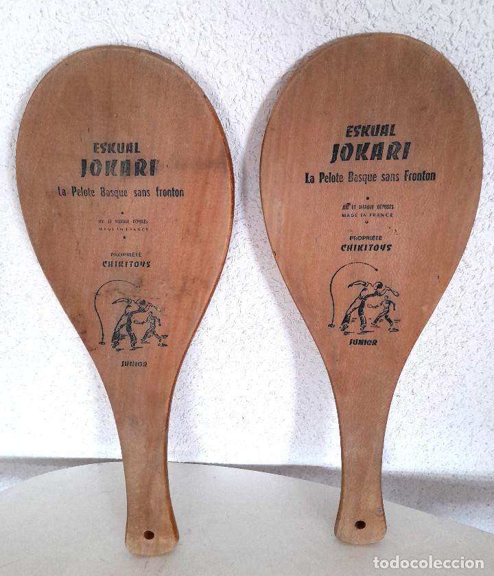 PALAS PELOTA VASCA FRONTÓN MADERA MADE IN FRANCE ESKUAL JOKARI CHIKITOYS JUNIOR 43 CM (Coleccionismo Deportivo - Material Deportivo - Otros deportes)