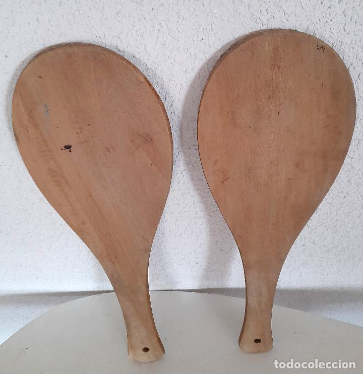 Coleccionismo deportivo: Palas pelota vasca frontón madera Made in France Eskual Jokari Chikitoys Junior 43 cm - Foto 3 - 284072773
