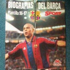 Coleccionismo deportivo: BIOGRAFIAS DEL FC BARCELONA BARÇA 96/97 COMPLETO, CONTIENE 27 FICHAS - KAPPA SPORT. Lote 26595095