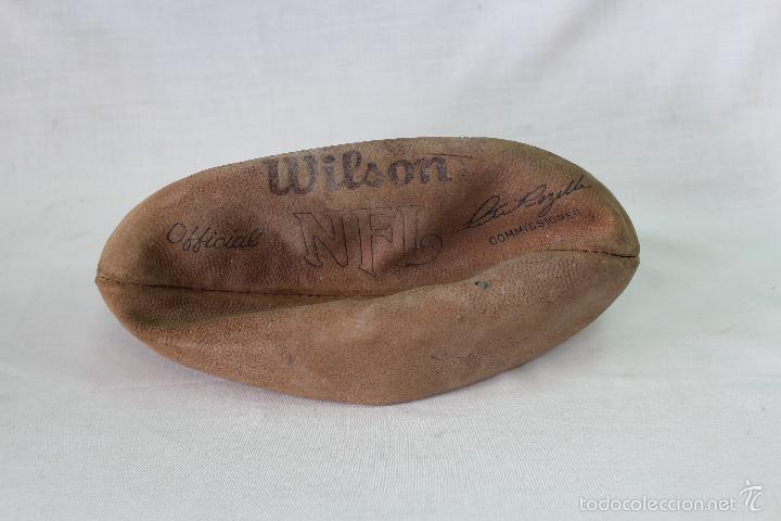 Coleccionismo deportivo: pelota - bola futboll americano vintage wilson cuero nfl. nfc. raro - Foto 3 - 58560002