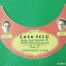 Collezionismo sportivo: ANTIGUA VISERA DE CARTÓN CON LOS JUGADORES BASORA Y ARGILES - CASA SECO - PONFERRADA - LEÓN. Lote 69513433