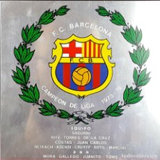 Coleccionismo deportivo: PLACA CONMEMORATIVA FC BARCELONA. CAMPEON LIGA 1973-74. METAL ESMALTADO. 1974. . Lote 82265052