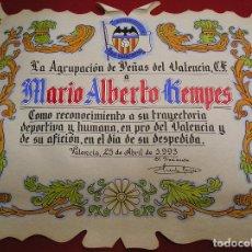 Coleccionismo deportivo: VALENCIA CLUB DE FUTBOL - MARIO ALBERTO KEMPES 25 ABRIL DE 1993 OBSEQUIO DE DESPEDIDA. Lote 98244887