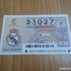 Coleccionismo deportivo: REAL MADRID -- DÉCIMOS DE LOTERÍA NACIONAL -- SERIE EQUIPOS DE FÚTBOL. Lote 110363091