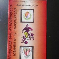 Coleccionismo deportivo: PROGRAMA ATHLETIC BILBAO VALLADOLID 96 97 SAN MAMES LIGA. Lote 116861854