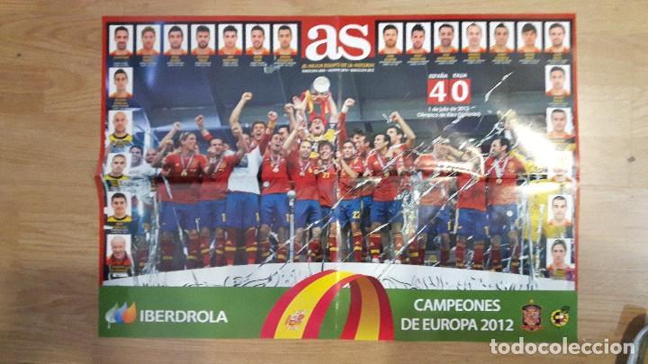 POSTER SELECCIÓN ESPAÑOLA DE FÚTBOL EUROCOPA FÚTBOL CAPEONA (Coleccionismo Deportivo - Material Deportivo - Fútbol)