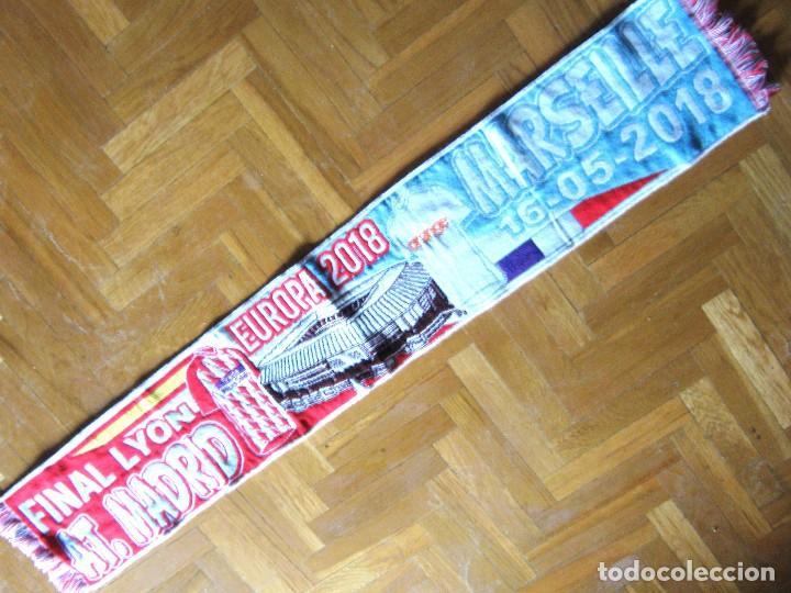 BUFANDA ATLETICO DE MADRID - OLYMPIQUE MARSEILLE MARSELLA FINAL EUROPA LEAGUE 2108 SCARV SCARF (Coleccionismo Deportivo - Material Deportivo - Fútbol)