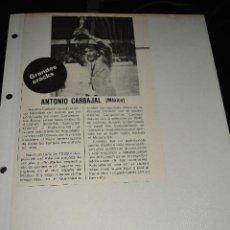 Coleccionismo deportivo: RECORTE DE REVISTA DEPORTIVA DON BALON.ANTONIO CARBAJAL. Lote 128544079