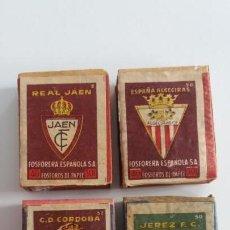 Collezionismo sportivo: CAJITAS DE CERILLAS FOSFORERA ESPAÑOLA CON ESCUDOS DE FÚTBOL (CÓRDOBA, JAÉN, JEREZ Y ALGECIRAS). Lote 142520574