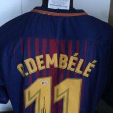 Coleccionismo deportivo: CAMISETA DEMBELÉ FC BARCELONA CON AUTOGRAFO Y COA BECKETT. Lote 156721298