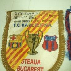 Coleccionismo deportivo: FC BARCELONA STEAUA BUCURESTI FINAL 1986 ROMANIA FUTBOL PENNANT BANDERIN FOOTBALL. Lote 172342910