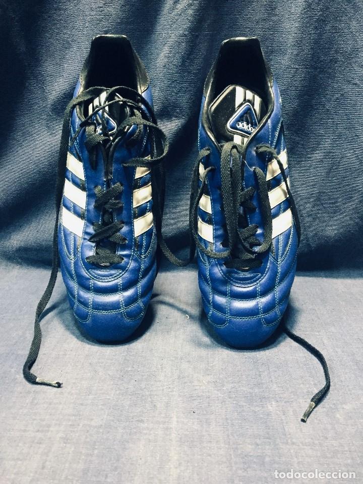 Coleccionismo deportivo: botas de fútbol marca adidas coloR azul tacos cesped nº 41 42 - Foto 8 - 178921570