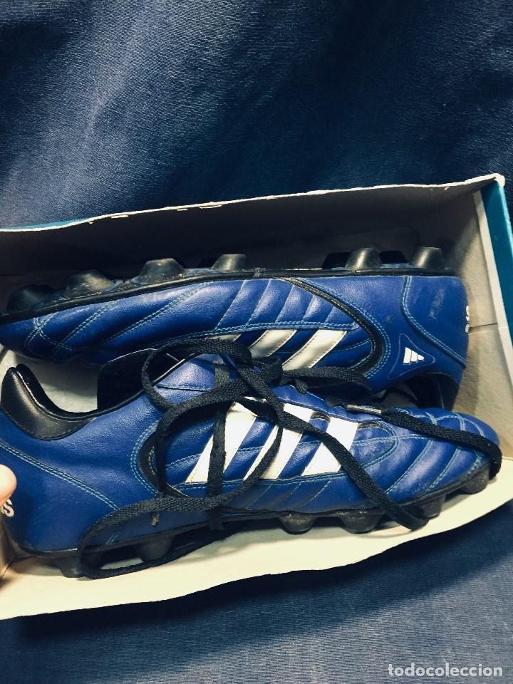 Coleccionismo deportivo: botas de fútbol marca adidas coloR azul tacos cesped nº 41 42 - Foto 3 - 178921570