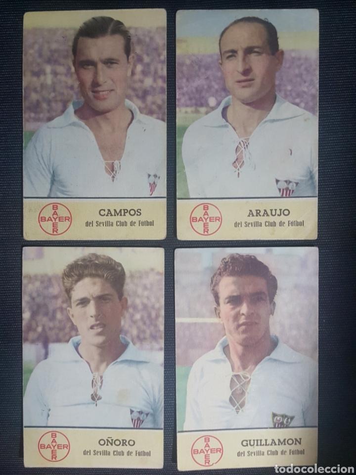 4 EXCELENTES TARJETONES BAYER DE JUGADORES DEL SEVILLA CF. ORIGINALES HACIA 1940 (Coleccionismo Deportivo - Material Deportivo - Fútbol)