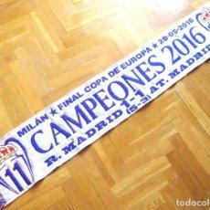 Coleccionismo deportivo: BUFANDA REAL MADRID CAMPEON CHAMPIONS LEAGUE 2016 MILAN ACRILICA NUEVA SCARF SCHAL SCIARPA. Lote 191820947