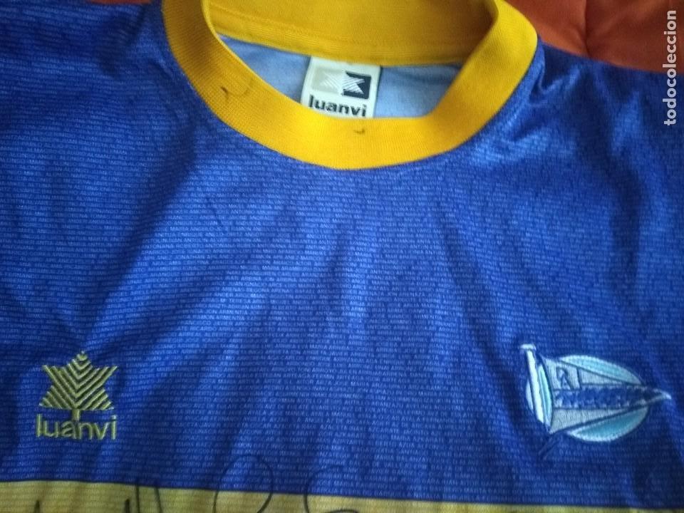 Coleccionismo deportivo: Camiseta final ueffa Deportivo Alavés Vitoria firmada jugadores - Foto 5 - 195361608