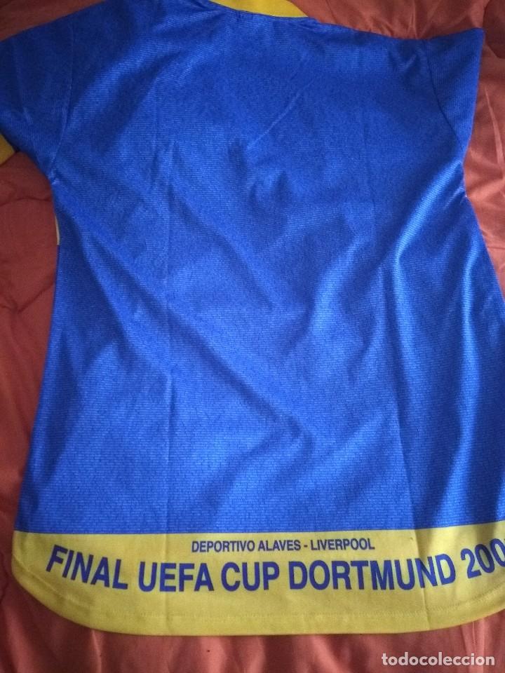 Coleccionismo deportivo: Camiseta final ueffa Deportivo Alavés Vitoria firmada jugadores - Foto 6 - 195361608
