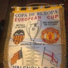 Coleccionismo deportivo: BANDERÍN COPA DE EUROPA VALENCIA CF MANCHESTER UNITED AÑO 2000. CHAMPIONS LEAGUE. Lote 197675333