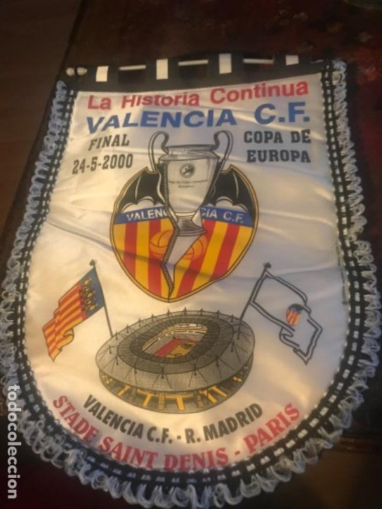 BANDERÍN FINAL COPA DE EUROPA VALENCIA CF REAL MADRID. PARÍS. CHAMPIONS LEAGUE (Coleccionismo Deportivo - Material Deportivo - Fútbol)