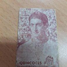 Coleccionismo deportivo: FICHA PESO JUGADOR FUTBOL QUINCOCES VALENCIA 1958. Lote 204802161