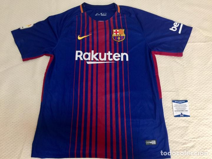 Coleccionismo deportivo: Camiseta FC Barcelona 2017-18 firmada por Dembele con COA - Foto 3 - 205740830