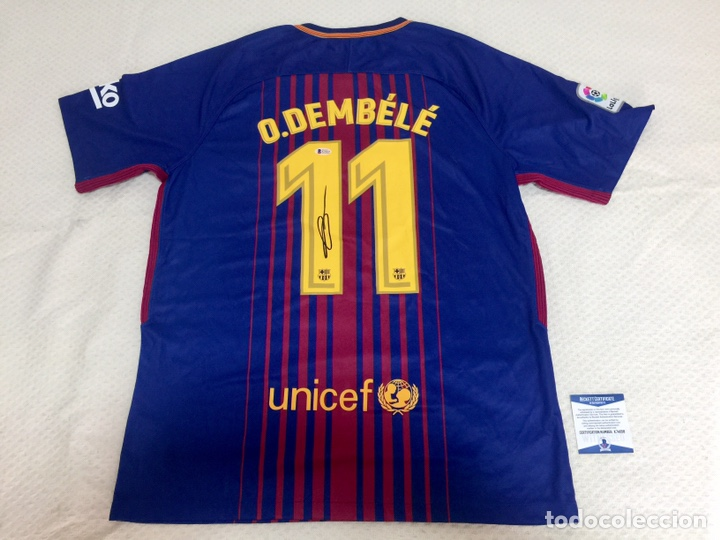 CAMISETA FC BARCELONA 2017-18 FIRMADA POR DEMBELE CON COA (Coleccionismo Deportivo - Material Deportivo - Fútbol)