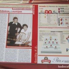 Coleccionismo deportivo: SEVILLA F. C. - AÑORANZAS - FICHA JORNADA 13 - SEVILLA F.C. -MÁLAGA - TEMPORADA 1999-2000.. Lote 206200252