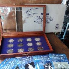 Coleccionismo deportivo: REAL MADRID CF, 12 MONEDAS CENTENARIO 1902-2002, BAÑADAS EN PLATA.. Lote 212327256