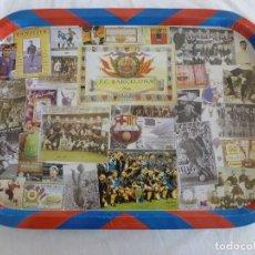 Coleccionismo deportivo: (LLL)BANDEJA METÁLICA(40 X 28,5)CONMEMORATIVA DE LA HISTORIA DEL F.C.BARCELONA-BARÇA-VER FOTOS. Lote 212517565