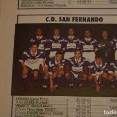 Coleccionismo deportivo: RECORTE DE DON BALON.INICIO TEMPORADA 94-95.RELACIÓN DE JUGADORES Y FOTO DEL CD SAN FERNANDO. Lote 214011120