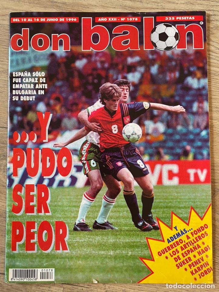 Coleccionismo deportivo: Lote España Eurocopa 1996 Fútbol Colección Balón Adidas Revista Don Balón y Naipes Fournier - Foto 7 - 215710777