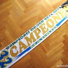 Coleccionismo deportivo: BUFANDA SCARF CAMPEONES LIGA 2011-12 REAL MADRID 32ª LIGA EN POLIESTEE DOBLE CARA DIFERENTE. Lote 218031851