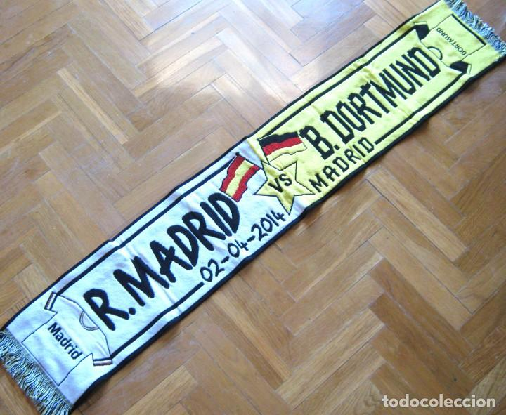 BUFANDA SCARF REAL MADRID - BORUSSIA DORTMUND CHAMPIONS LEAGU 13-4 SCHAL ECHARPE (Coleccionismo Deportivo - Material Deportivo - Fútbol)