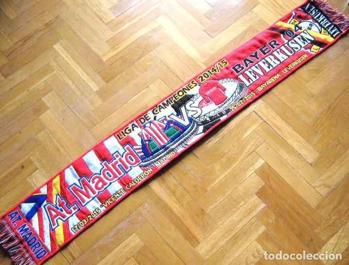 BUFANDA SCARF ATLETICO MADRID - BAYER LEVERKUSEN CH. LEAGUE 14 -15 SCHAL ECHARPE (Coleccionismo Deportivo - Material Deportivo - Fútbol)