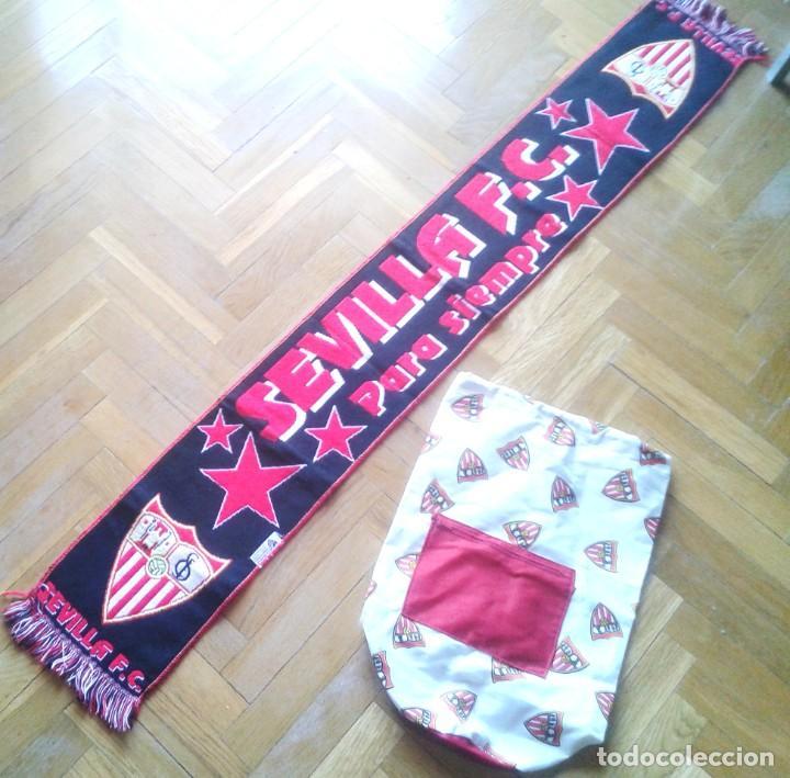 BUFANDA OFICIAL + MOCHILA DEL SEVILLA FC PARA PARTIDOS PASEO SCARF + BACKPACK !! (Coleccionismo Deportivo - Material Deportivo - Fútbol)